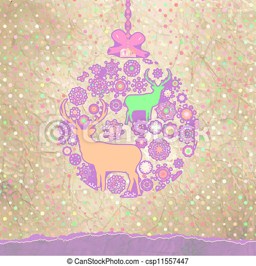 Christmas deer card. EPS 8 - csp11557447