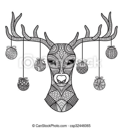 Hand Drawn Deer Head With Christmas Balls Hanging On Its Horn For Coloring Bookchristmas Carddecoration