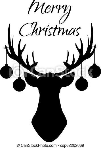 Christmas Reindeer Silhouette.Christmas Deer