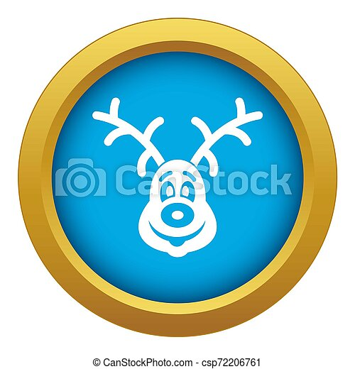 Christmas deer icon blue isolated - csp72206761