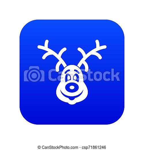Christmas deer icon digital blue - csp71861246