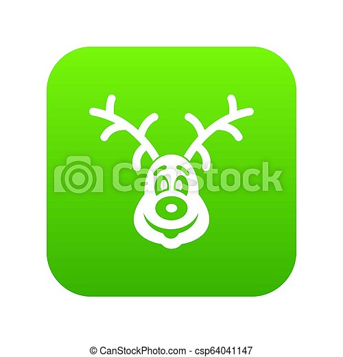 Christmas deer icon digital green - csp64041147