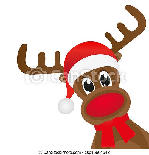 Christmas deer in a red scarf wavin