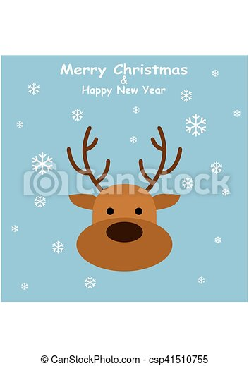 Christmas Deer in flat style with snowflakes on blue background - csp41510755