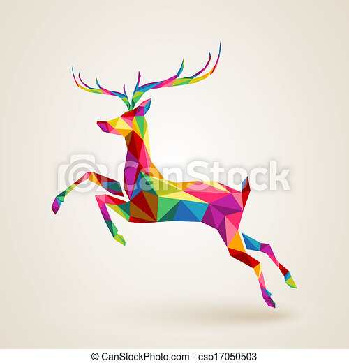 Christmas deer multicolor origami - csp17050503