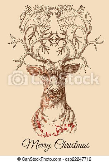 Christmas deer sketch vector illustration - csp22247712