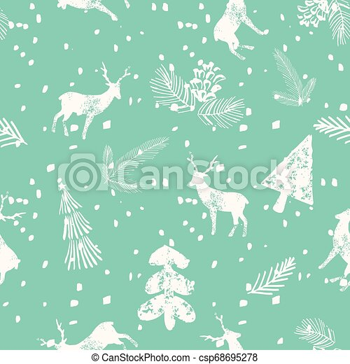 Christmas Deer Spruce Seamless Pattern Blue Background