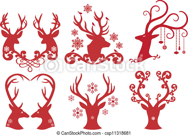 Christmas deer stag heads, vector  - csp11318681