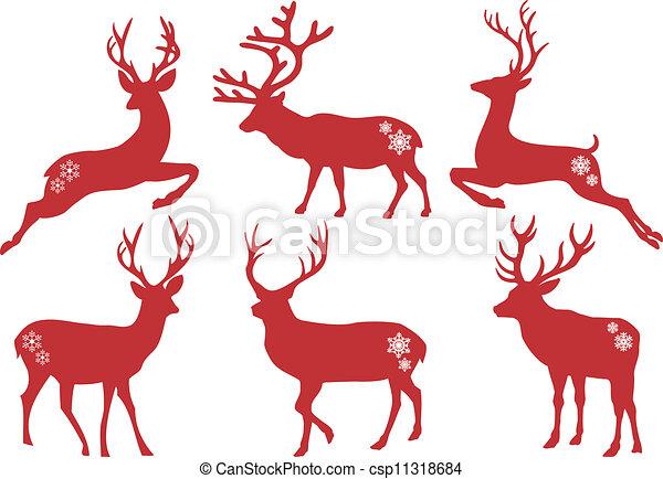 Christmas deer stags, vector set - csp11318684