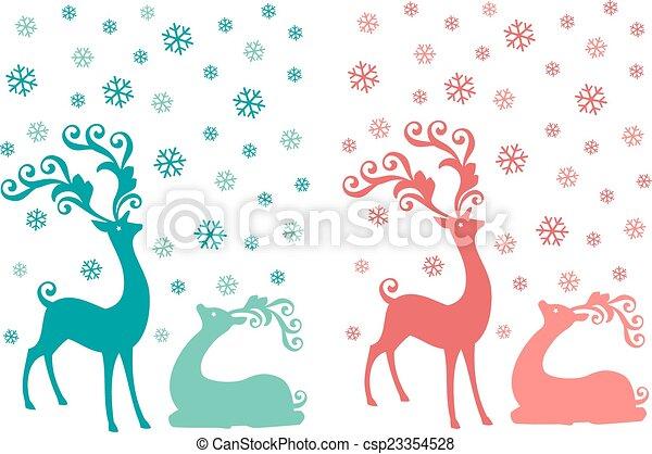 Christmas deer, vector set - csp23354528