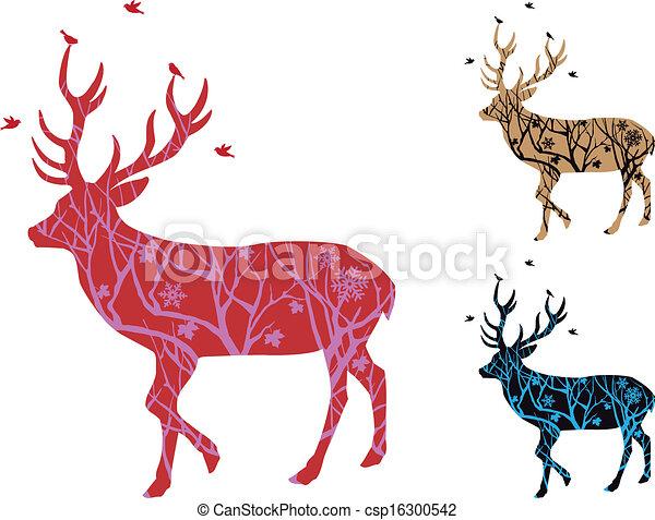 Christmas deer with birds, vector - csp16300542