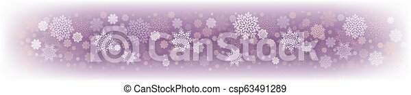 Christmas delicate purple design with a set of white snowflakes. - csp63491289