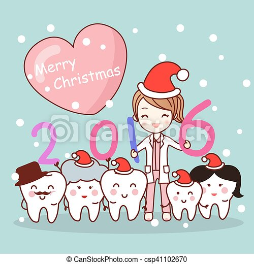 Christmas dentist with tooth family. Christmas and cute cartoon ...