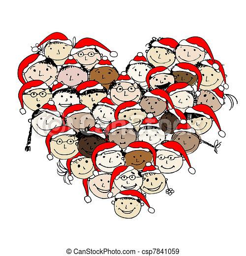 christmas!, desenho, feliz, povos, seu, feliz - csp7841059