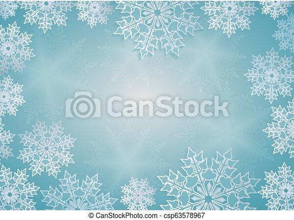 Christmas design blue with elegant white snowflakes, frame. - csp63578967