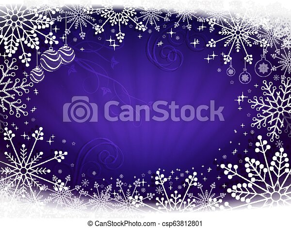 Christmas design in blue with rays of light and beautiful snowflakes. - csp63812801