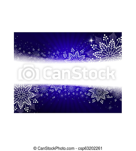 Christmas design in blue with snowflakes, sparkles and balls, - csp63202261