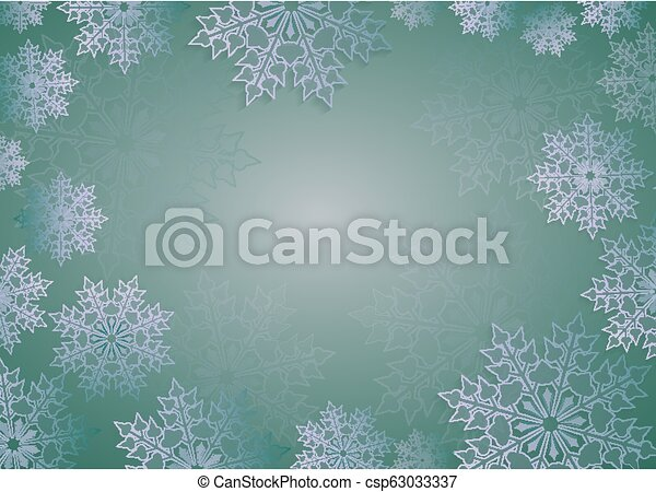 Christmas design in green with beautiful white snowflakes, frame. - csp63033337