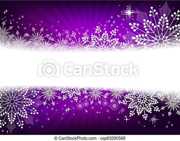 Christmas design in purple with snowflakes, sparkles and balls. - csp63290568
