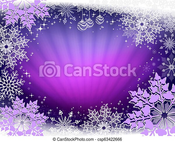 Christmas design in purple with rays of light and beautiful snowflakes. - csp63422666