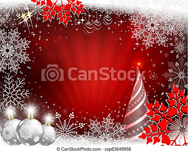 Christmas design in red with rays of light, Christmas tree, white balls and beautiful snowflakes. - csp63649956