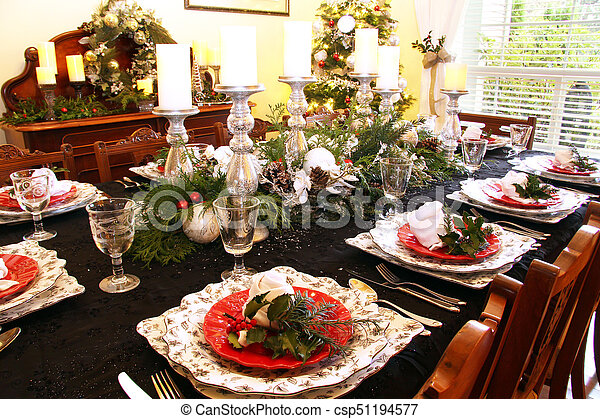 Christmas dining table - csp51194577 & Christmas dining table. Traditional dining room table set... picture ...