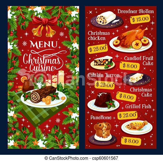 Christmas Dinner Menu.Christmas Dinner Cuisine Vector Restaurant Menu