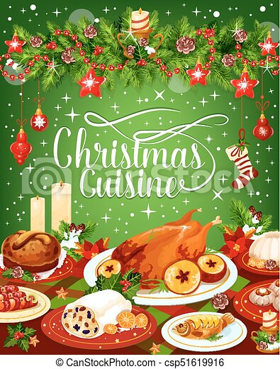 Christmas Dinner Cuisine Vector Greeting Card