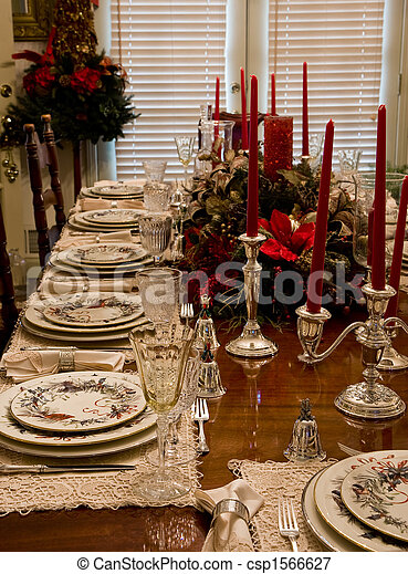 Christmas Dinner Place Settings Formal China Crystal