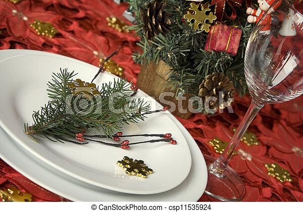 Christmas dinner table - csp11535924