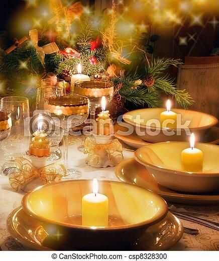 Christmas dinner table  with christmas mood - csp8328300