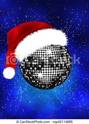 Christmas Disco Clipart.Christmas Disco Ball With Santa Hat