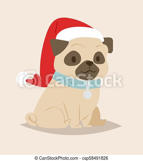Christmas Dog Vector Cute Cartoon Puppy Characters Illustration Home Pets Doggy Different Xmas Celebrate Poses In Santa Red