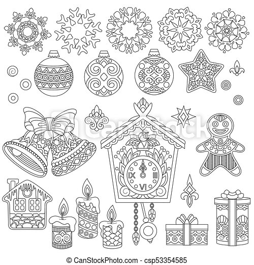 Christmas Doodle Ornaments Holiday Decorations For New Year Greeting Card Or Adult Coloring Book Page