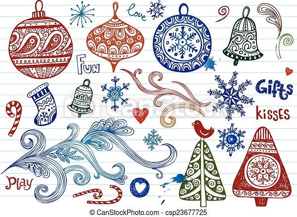 Christmas doodles - csp23677725