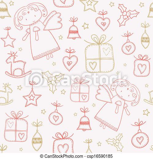 Christmas doodles seamless pattern - csp16590185