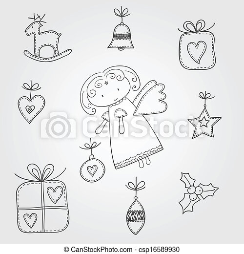 Christmas doodles with angel - csp16589930
