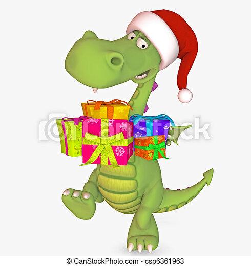 Christmas dragon. 3d render.