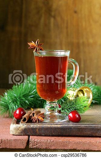 Christmas drink tea with cinnamon - csp29536786
