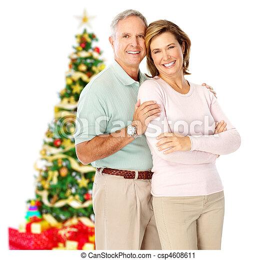 Christmas elderly couple - csp4608611