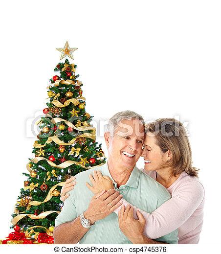 Christmas elderly couple - csp4745376
