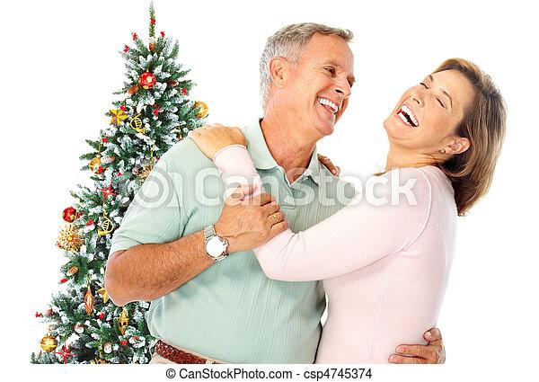 Christmas elderly couple - csp4745374