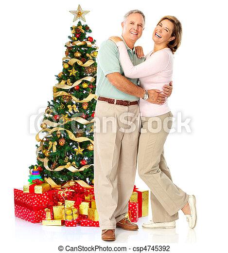 Christmas elderly couple - csp4745392