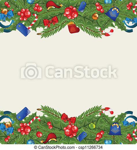 Christmas elegance background with holiday decoration - csp11266734