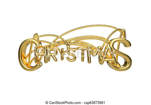Christmas Elegant Golden Lettering Word With Letters Bound By Strings Isolated On White Background Holyday 3d Illustration