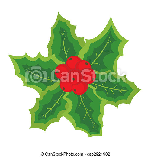 Christmas element with holly berries - csp2921902