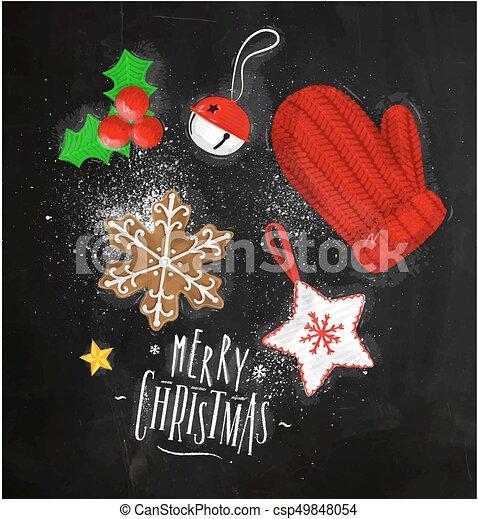 Christmas elements glove chalk - csp49848054