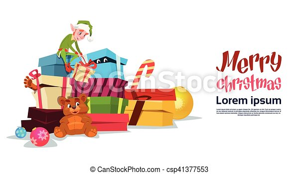 Christmas Elf Boy Cartoon Character Santa Helper With Many Present Box - csp41377553