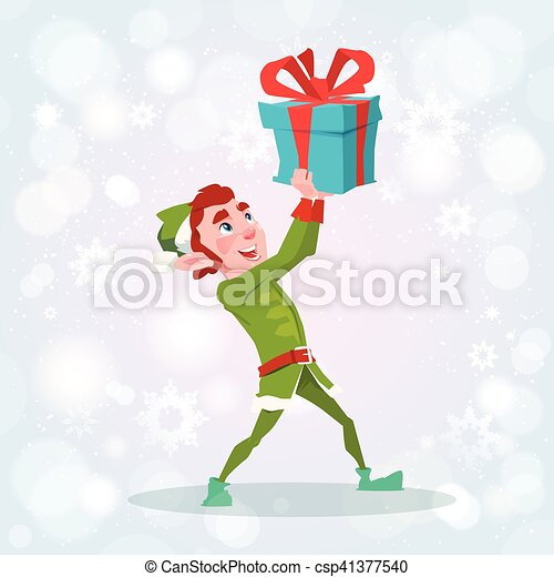 Christmas Elf Boy Cartoon Character Santa Helper With Present Box - csp41377540