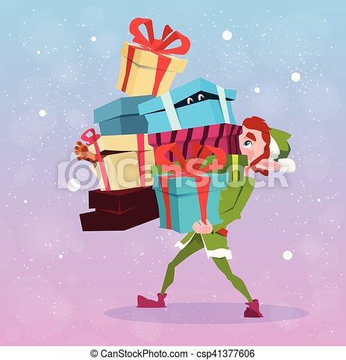 Christmas Elf Boy Cartoon Character Santa Helper Hold Many Present Box - csp41377606